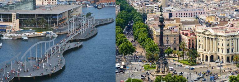 El puente de madera que da acceso al centro comercial Maremagnum (derecha) y la estatua de Cristóbal Colón con La Rambla al fondo.